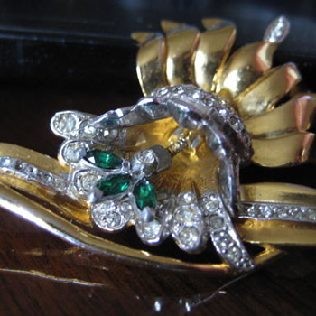 UNK Flower with rhinestones and Spring held floral spray - Costume Jewelry