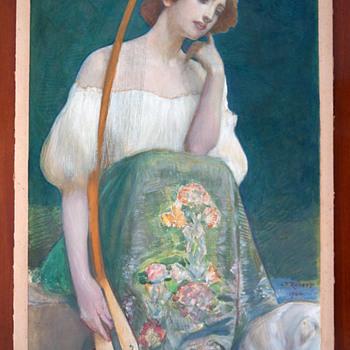 1904 Léo-Paul-Samuel Robert Symbolist Painting - Woman w/ Long-necked Lute - Art Nouveau
