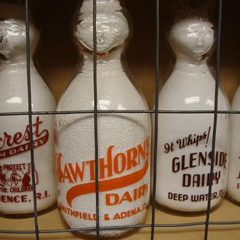 HAWTHORNE DAIRY...SMITHFIELD & ADENA OHIO COP THE CREAM MILK BOTTLE - Bottles