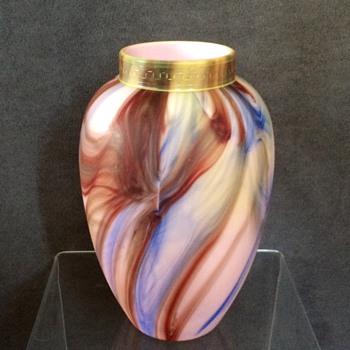 """Early Loetz Marmoriertes Satin Etched Vase  8""""  - Art Nouveau"""