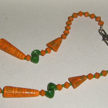 Restrung Czech glass Egyptian motif - Costume Jewelry