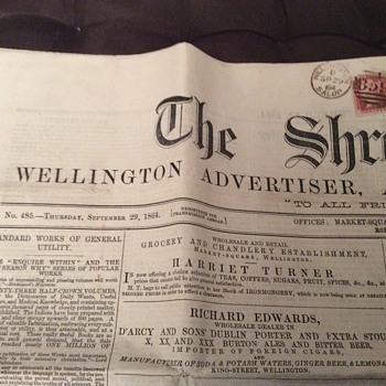 1864 Newspaper, The Shropshire News