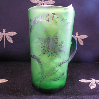 Antique Molded Green Satin Glass Washington D. C. Souvenir Mug With Applied Handle - Advertising
