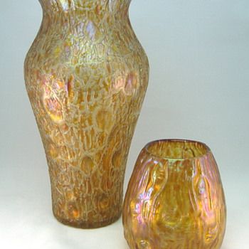 Loetz Orange Astglas decor - Art Glass