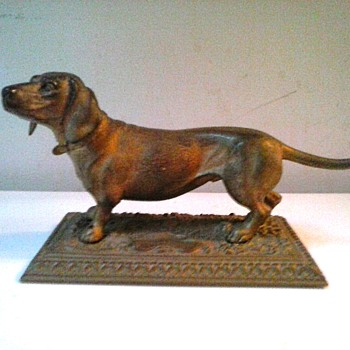 "Brass Or Bronze Dachshund Sculpture/ Possibly A.B. Jennings Bros. ""Nouveau Bronze"" Unmarked/Circa 19th-20th Century - Fine Art"
