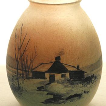 Obverse painted chipped ice shade. Pittsburg, perhaps? - Art Glass