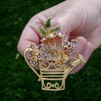 Watering Can Brooch - Costume Jewelry
