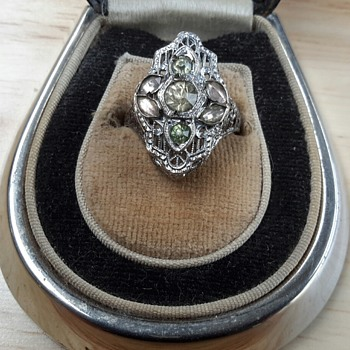 1930s Sterling gem set Ring