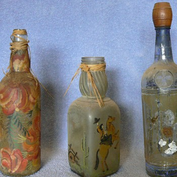 Antique Painted Bottles - Bottles