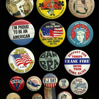A little mixture of American Pinback Buttons - Medals Pins and Badges