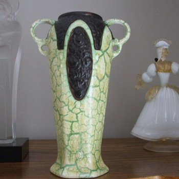 Crackle Yellow/Green Pottery Vase with Cartouched Flowers- Ditmar Urbach - Pottery