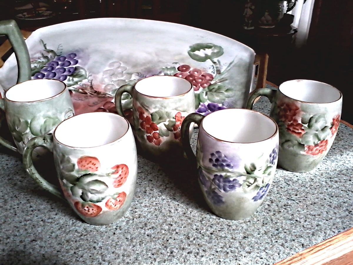 Cider Pitcher with Five T&V Limoges France Cups and Tray Marked Bavaria /Hand  Painted / Circa 1880-1920 | Collectors Weekly