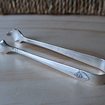 Art Deco Ice Tongs - United States Lines, International Silver Co. - Silver