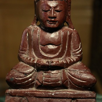 Painted Carved Wood Buddha - Asian