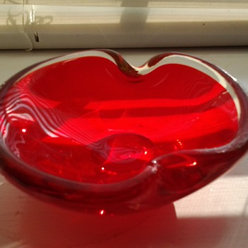 Red and Clear Glass Ashtray - Tobacciana