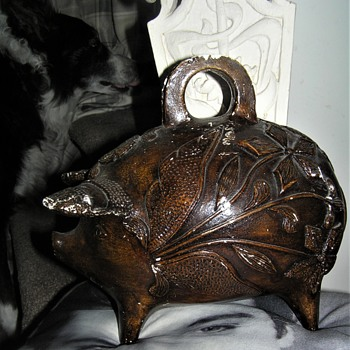 Brown Varnished Plaster Large Piggy Bank - Coin Operated