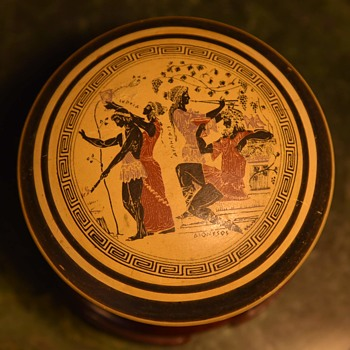 Covered Dish with an Ancient Greek Theme - Pottery