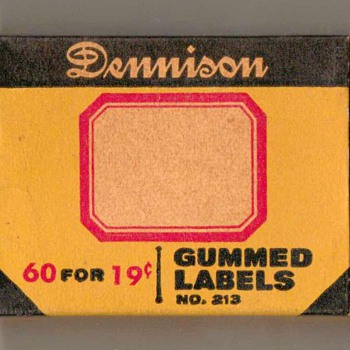 1940's - Dennison Gummed Labels - Office