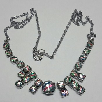Iris Rainbow Glass Necklace with 835 Silver Iris Glass Ring - Fine Jewelry