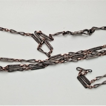 Victorian silver Niello chain - Costume Jewelry