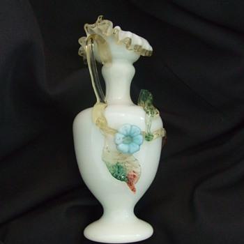 Victorian Art glass ewer with matsu-no-ke flower - Art Glass