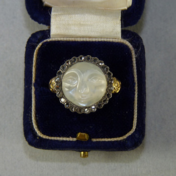 "Georgian ""Man in the Moon"" Moonstone and Diamond Betrothal Ring"