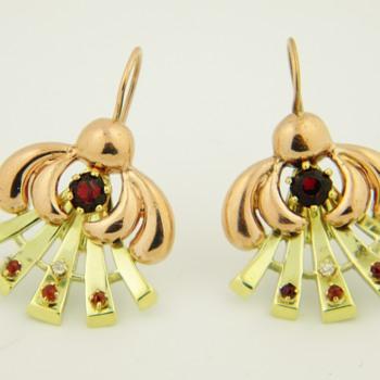 Antique Deco Diamond Garnet 14k Rose/Yellow Gold Earrings