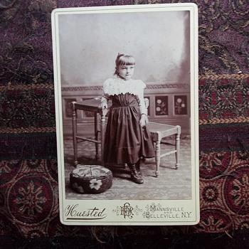 1893 Photo of CUTE GIRL In Homemade dress. She looks a bit shy.