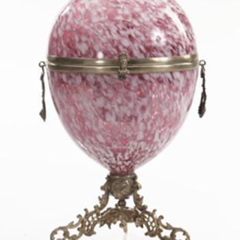 Spatter Glass Egg-shaped Liqueur Set - Art Glass