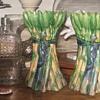 Majolica Asparagus Vase Pair