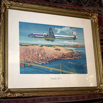 United Airlines over San Francisco w/ both bridges - Posters and Prints