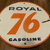 a couple of Union 76 polcelain gas pump plates,front & back