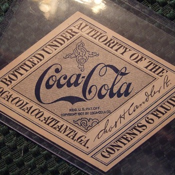 Original 1917-19 Coca-Cola Straight sided bottle label
