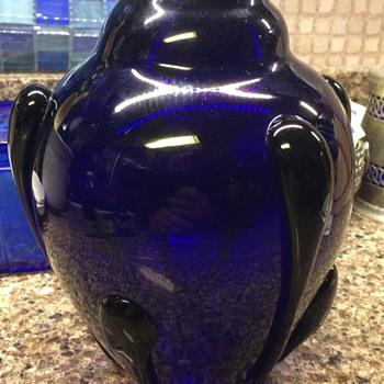 Art Deco Cobalt glass vase - Art Glass