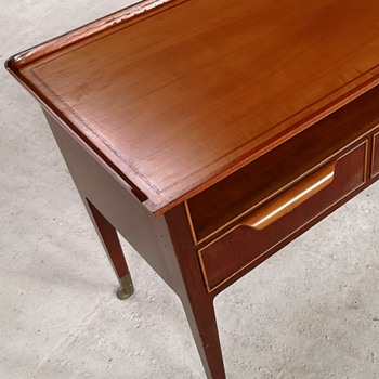 Teak and cherry wooden mid century side table with two drawers... Unknown - Furniture