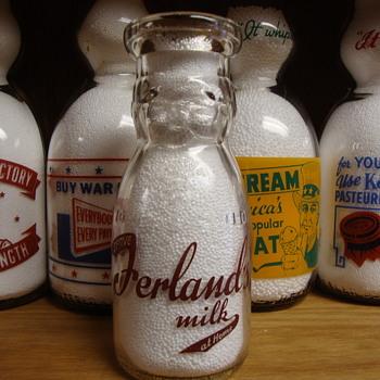 "FERLAND'S MILK...MEXICO MAINE...""10 OUNCE"" BABY TOP MILK BOTTLE - Bottles"