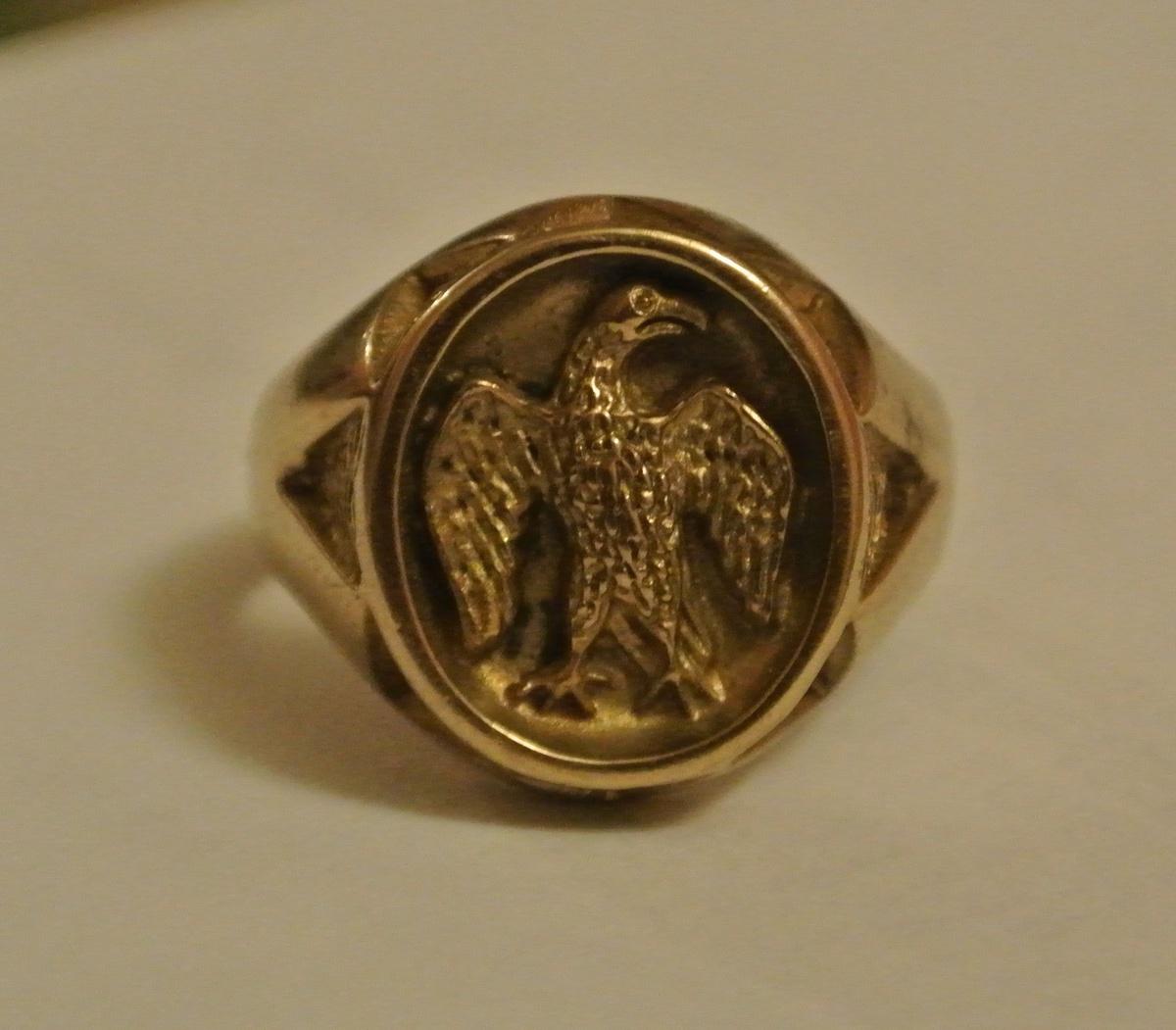 World War Ii Solid Gold Eagle Cast Cameo Intaglio Ring