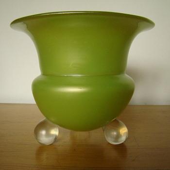 Loetz yellow - green satin glass vase - Art Glass