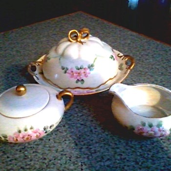 Beautiful Covered Dish with Matching Sugar Bowl and Creamer /Hand Painted by E. Mears Czech & German Porcelain /Circa 1900-1920 - China and Dinnerware