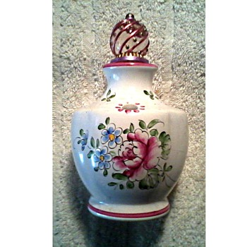 Little Hand Painted French Faience Scent Bottle with Stopper /  Unknown Age - China and Dinnerware