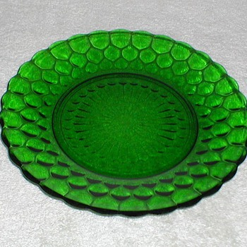 Bubble Pattern Green Glass Plates - Glassware