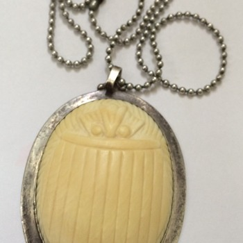 Large Silver and Ivory Scarab And Silver Claw Pendant - Fine Jewelry