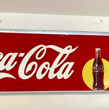 "1947 Drink Coca Cola bottle in the spotlight 54"" x 18"" large tin sign."
