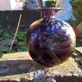 Small, Chunky Mdina Lustre Studio Glass Bud Vase, Flea Market Find 2 Euro ($2.14) - Art Glass
