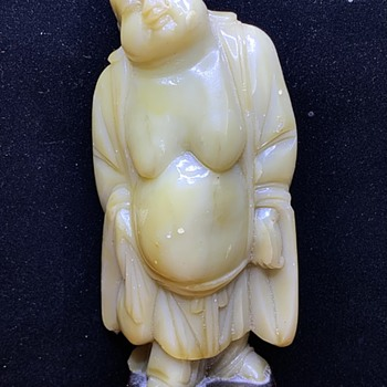 Old Nephrite Jadeite Carved Standing Buddha Figure On Stand  - Asian