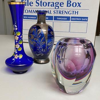 Vintage Cobalt Blue Vases  - Art Glass