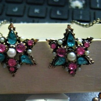 Pastel Rhinestones Pearls Earrings see  my earlier CORO & Hollycraft post - Costume Jewelry
