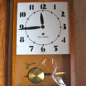 Seth Thomas Oak Art Deco Regulator Clock