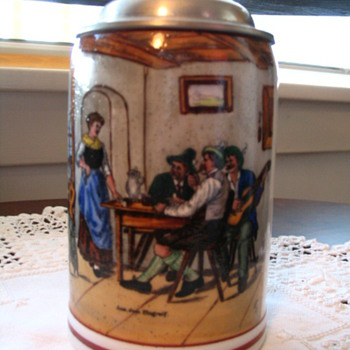 Set of 6 Salt Glaze Steins - ?? Age (Marks altered?) NOT FOR SALE