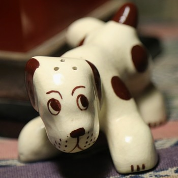 California Pottery Brown and White Spotted Dog S/P Shaker